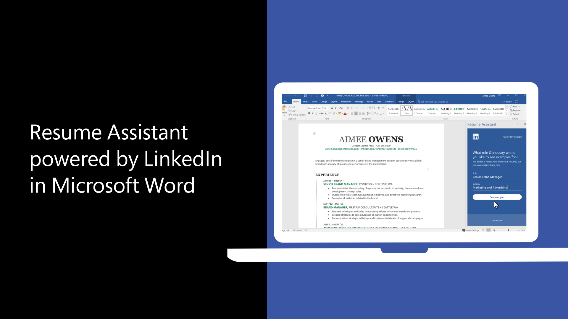 use resume assistant and linkedin for great resumes office support professional summary Resume Office 365 Resume Assistant