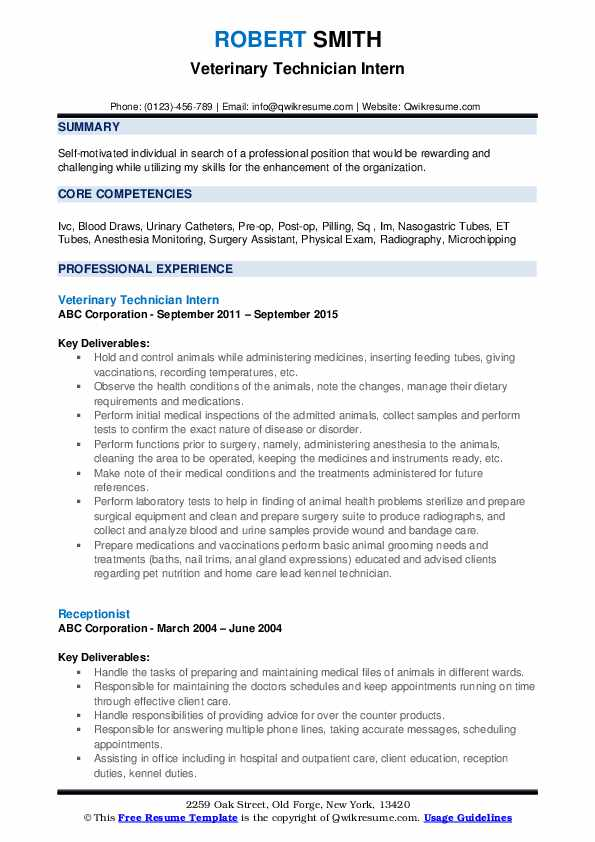 veterinary technician resume samples qwikresume objective for pdf canva free template Resume Objective For Veterinary Resume