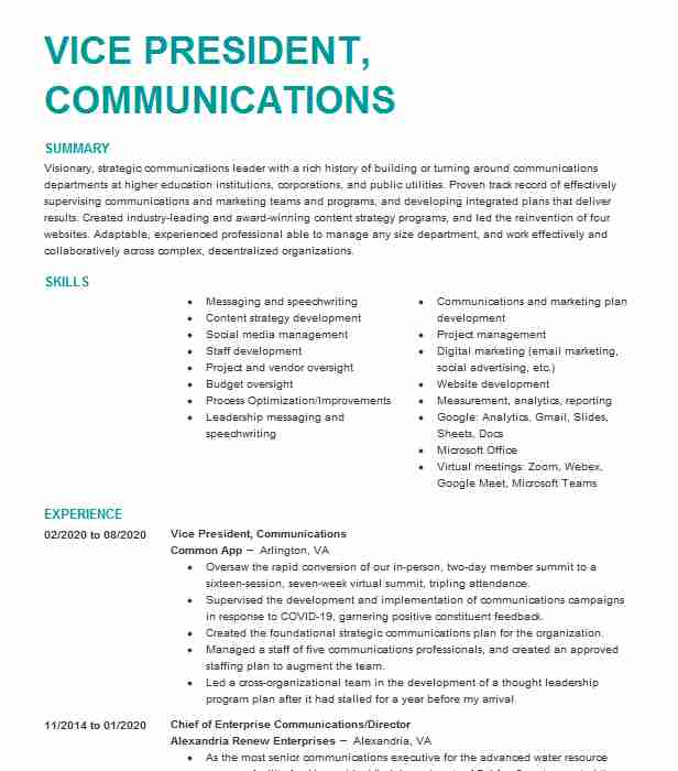 vice president communications resume example fidelity investments boston vp quick and Resume Vp Communications Resume