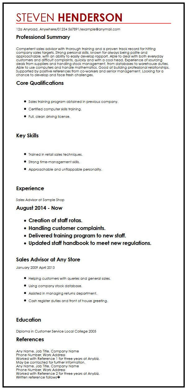 view our advisor cv example and get hired myperfectcv resume references with creative Resume Resume References Example