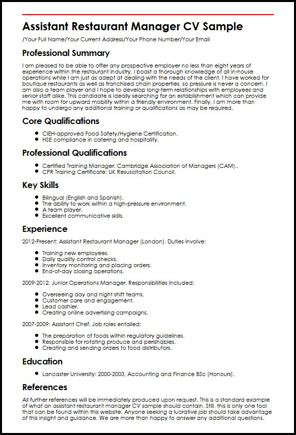 view our assistant restaurant manager cv example myperfectcv resume sample sophomore Resume Restaurant Manager Resume Sample
