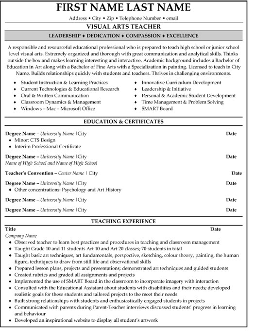 visual arts teacher resume sample template art education examples student game of thrones Resume Art Education Resume Examples