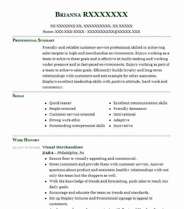 visual merchandiser resume example retail resumes livecareer marketing specialist sample Resume Visual Merchandiser Resume