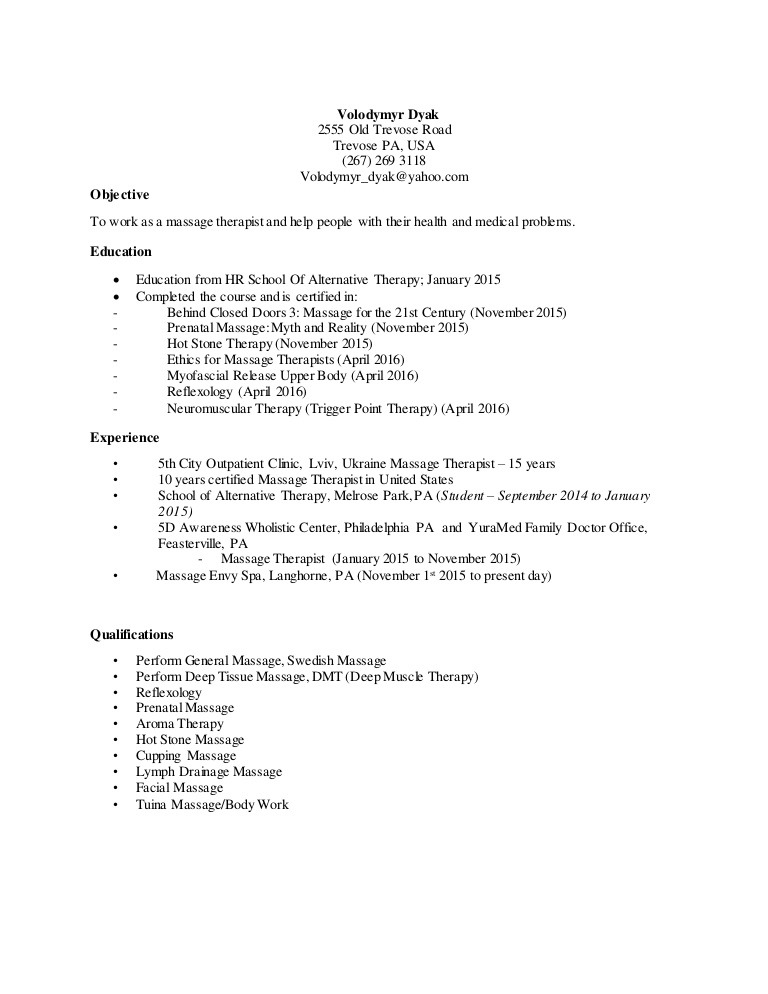 volodymyr dyak massage therapy resume therapist objective thumbnail state examples indeed Resume Massage Therapist Resume Objective