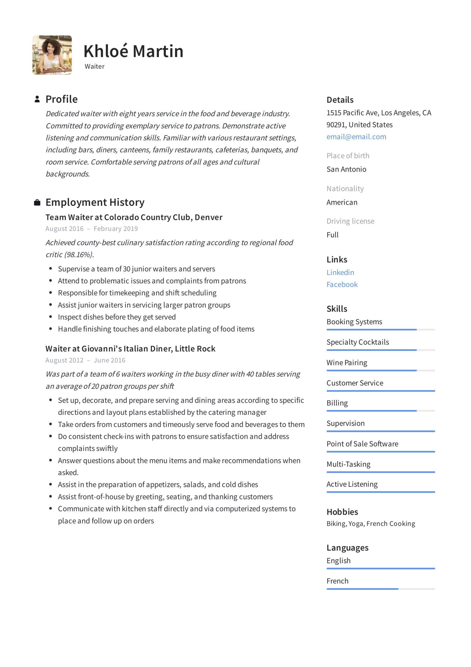 waiter resume writing guide samples pdf waitress server examples example butcher resubmit Resume Waitress Server Resume Examples