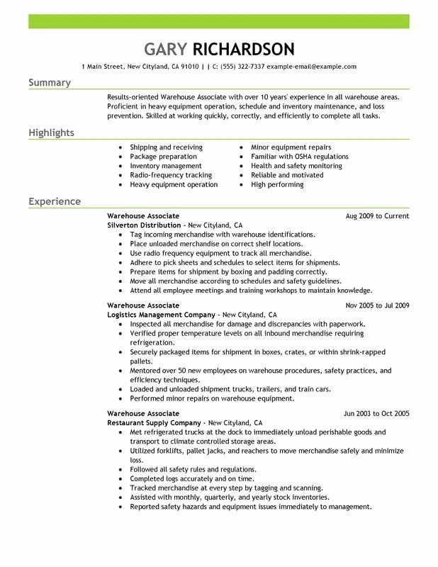 warehouse job description resume beautiful associate sample in good examples shipping and Resume Shipping And Receiving Associate Resume