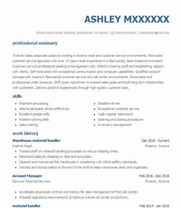 warehouse material handler resume example livecareer examples core functional template Resume Material Handler Resume Examples