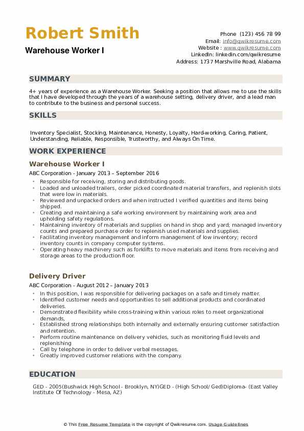 warehouse worker resume samples qwikresume skills pdf the perfect sample examples account Resume Warehouse Worker Resume Skills