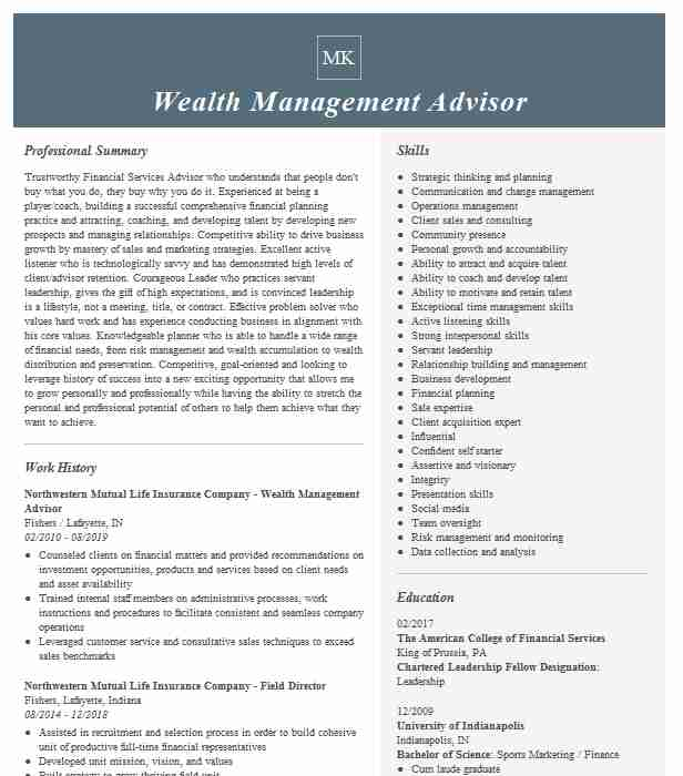 wealth management advisor resume example resumes livecareer checker people operations Resume Wealth Management Resume