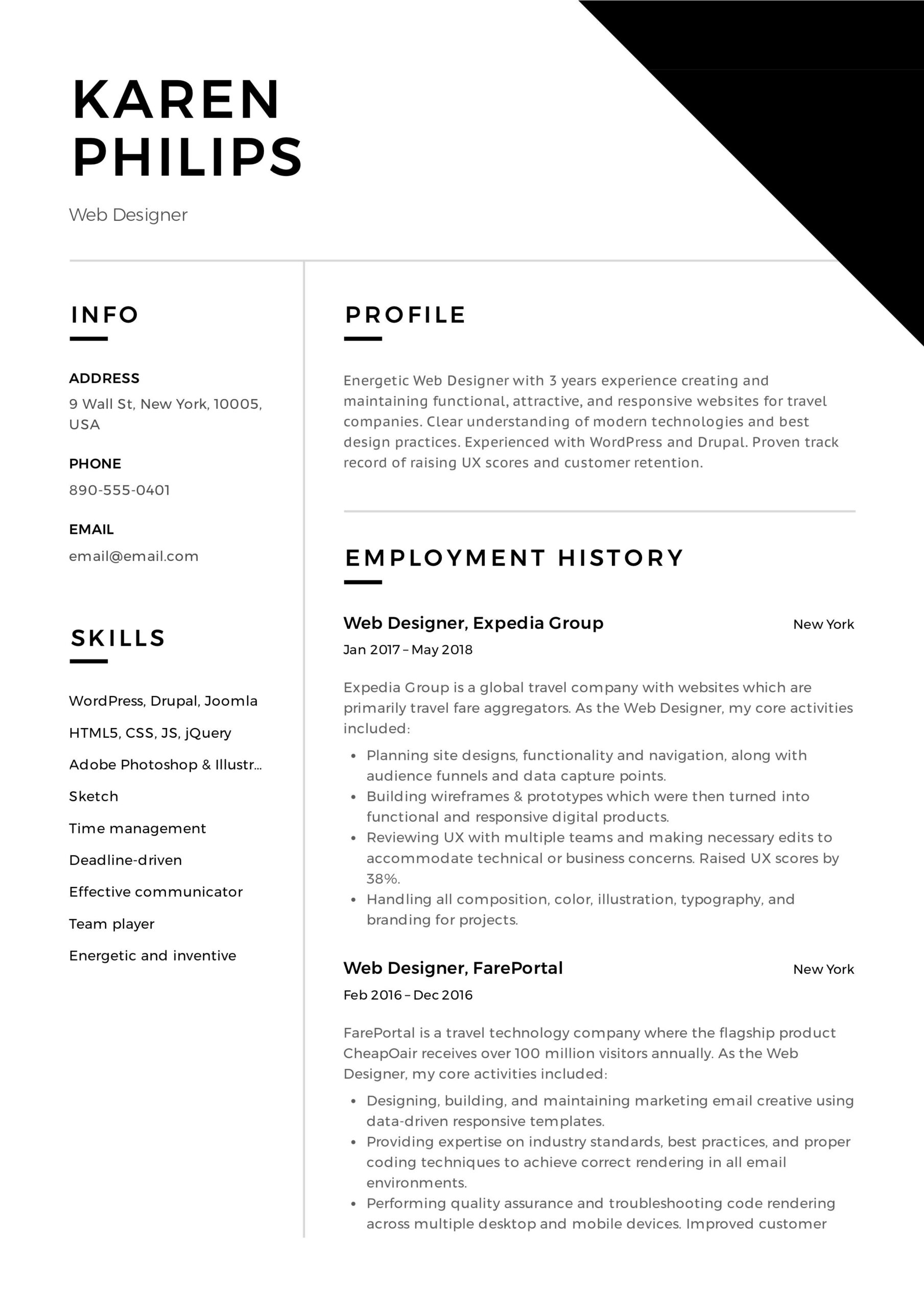 web designer resume example event planner professional examples format free office Resume Web Designer Resume Format Free Download