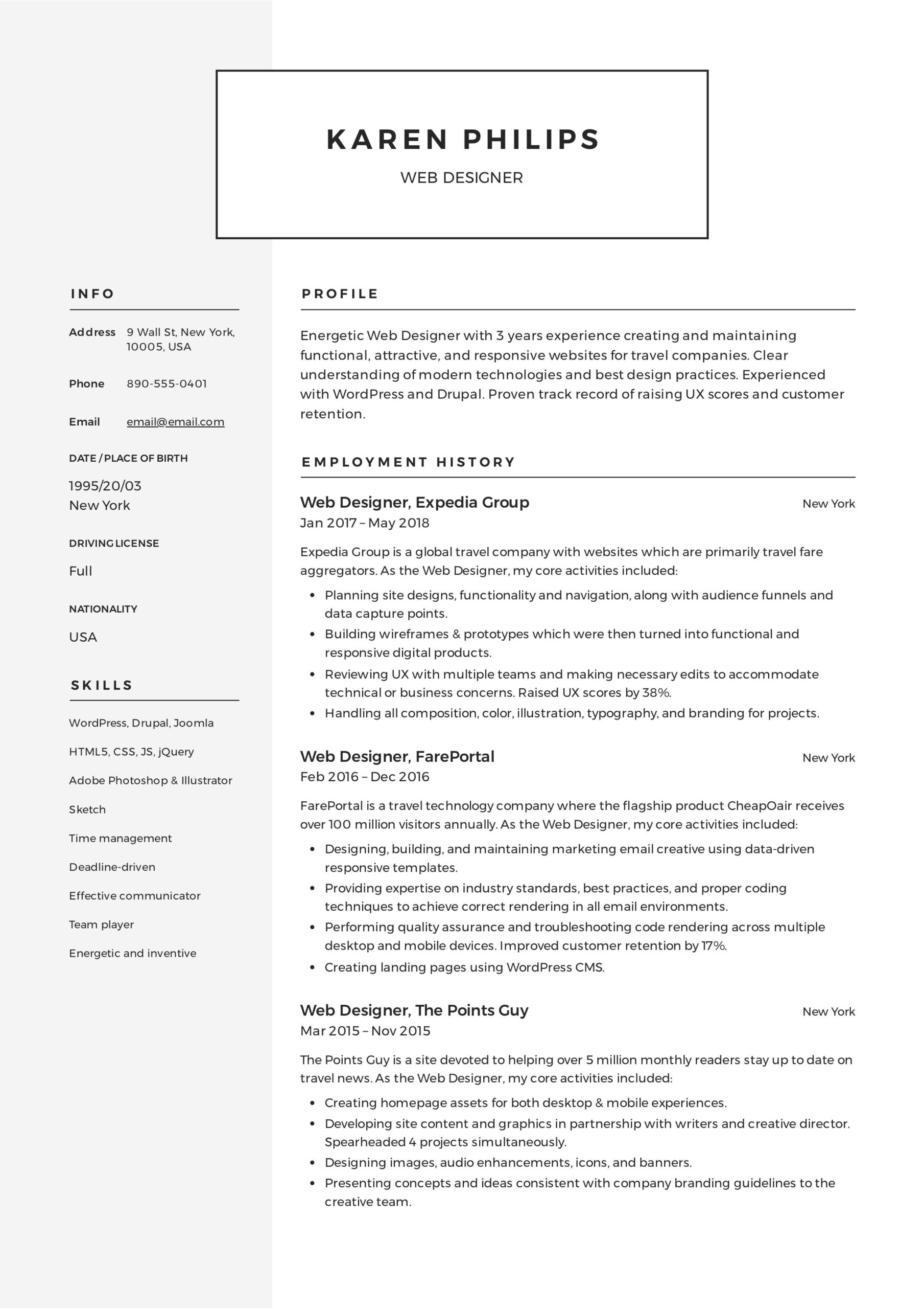 web designer resume example template free examples job format food service samples office Resume Web Designer Resume Format Free Download