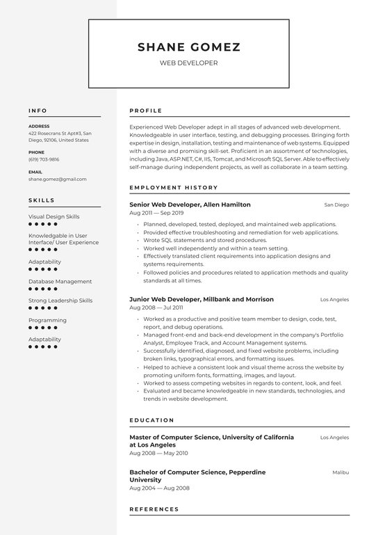 web developer resume examples writing tips free guide io self employed consumer reports Resume Self Employed Resume Examples