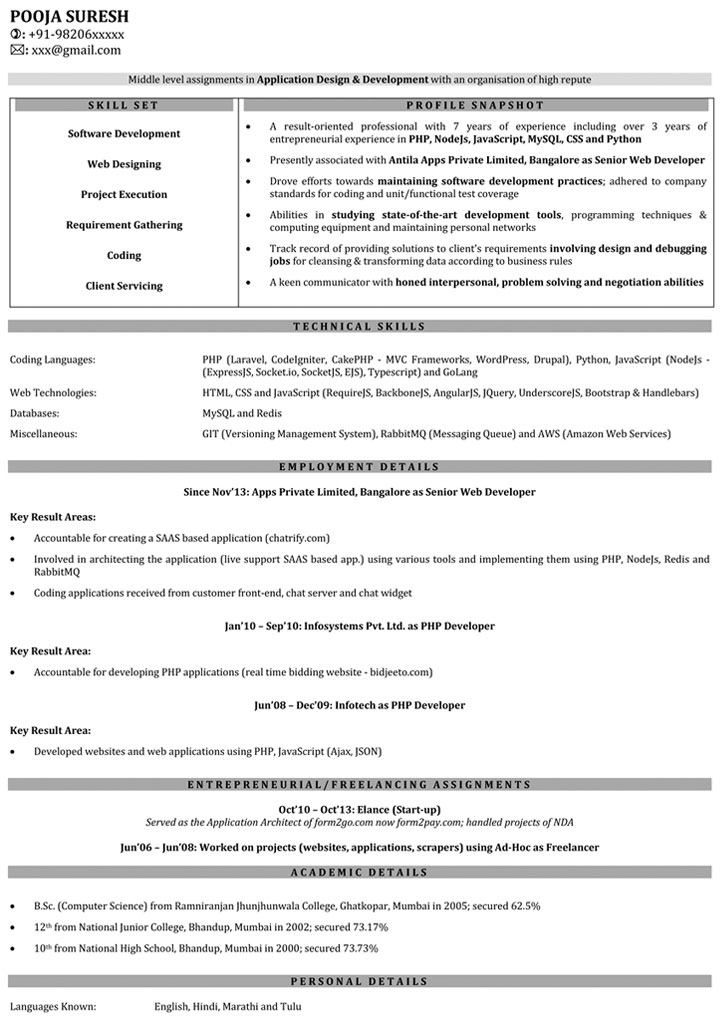 web developer resume samples sample for naukri with years experience answering phones on Resume Resume With 2 Years Experience
