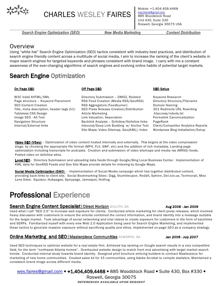 wes faires search engine optimization seo resume stunt critique services freelance Resume Resume Search Optimization