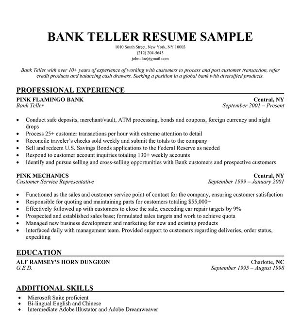 with resumes for bank resume format description employee contract extension letter six Resume Resume Description For Bank Teller