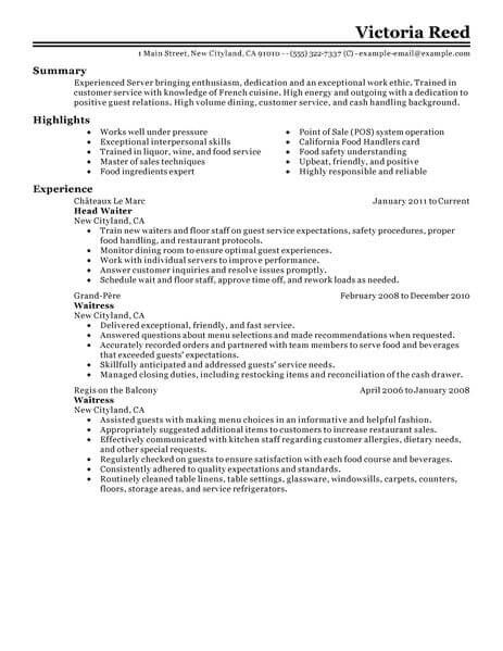 with server resume samples format restaurant examples work history example college core Resume Restaurant Server Resume Examples