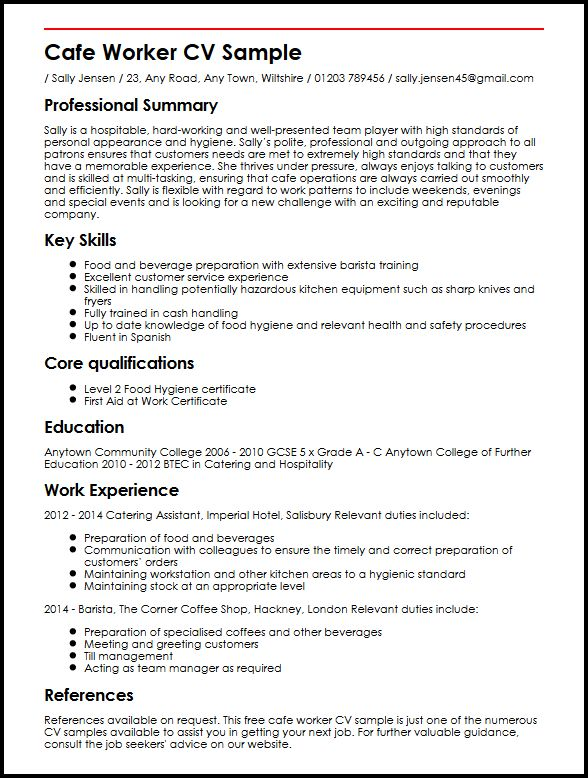 worker cv example myperfectcv food prep resume duties sample extra front cover letter for Resume Food Prep Resume Duties