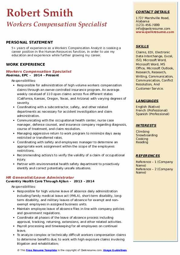 workers compensation specialist resume samples qwikresume pdf for 1st year engineering Resume Compensation Specialist Resume