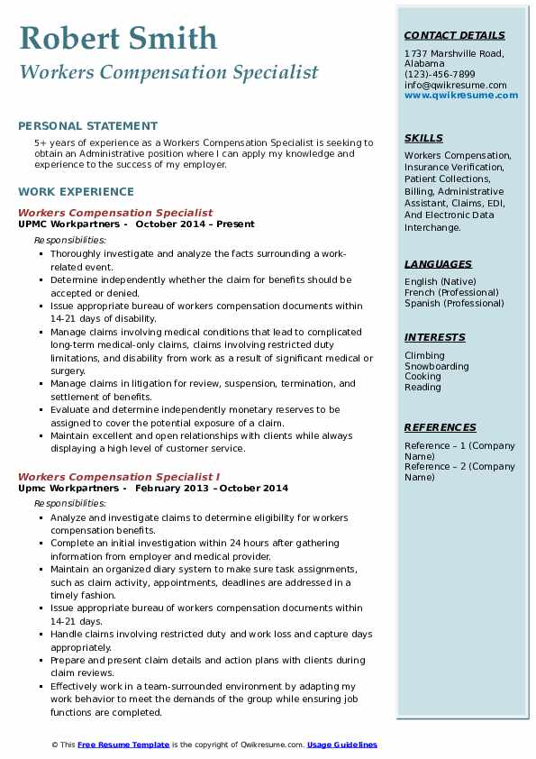workers compensation specialist resume samples qwikresume pdf simple cover letter Resume Compensation Specialist Resume