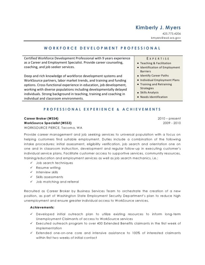 workforce development resume with one term job marketing duties and responsibilities Resume Resume With One Long Term Job