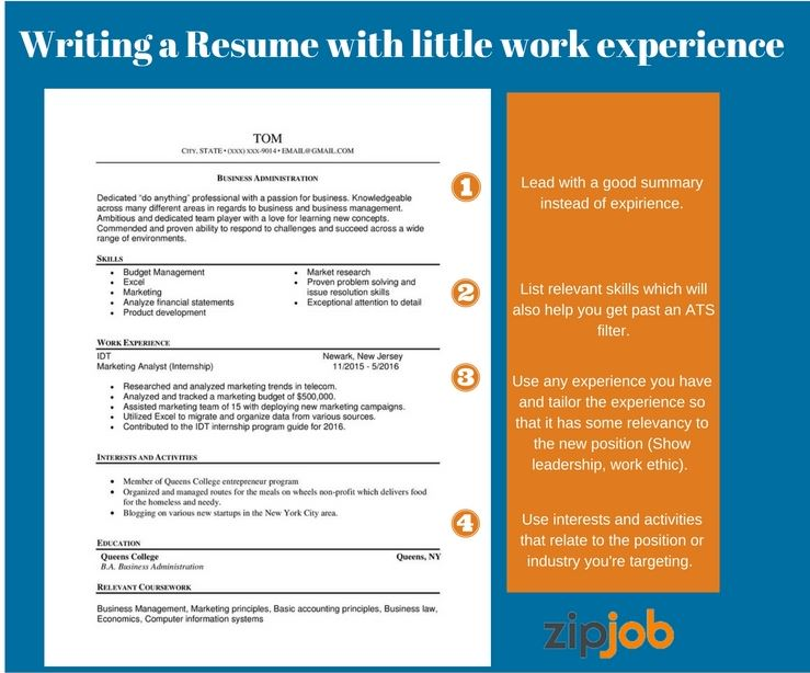 writing the perfect resume with little to no experience examples work description without Resume Resume Work Experience Description