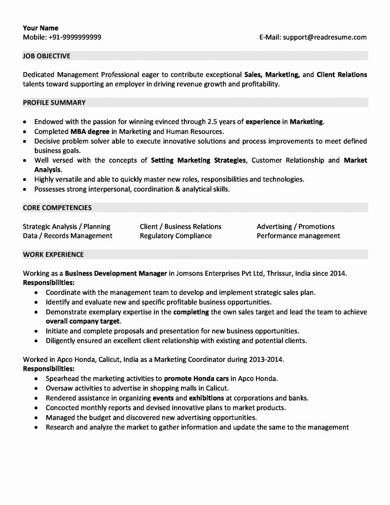 years resume format examples marketing with experience customer service objective Resume Resume With 2 Years Experience