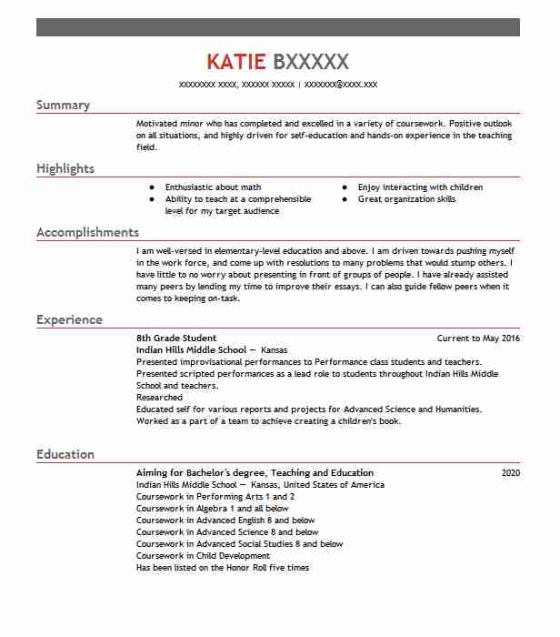 8th grade branden middle school student resume example beach sample templates for someone Resume Sample Middle School Resume