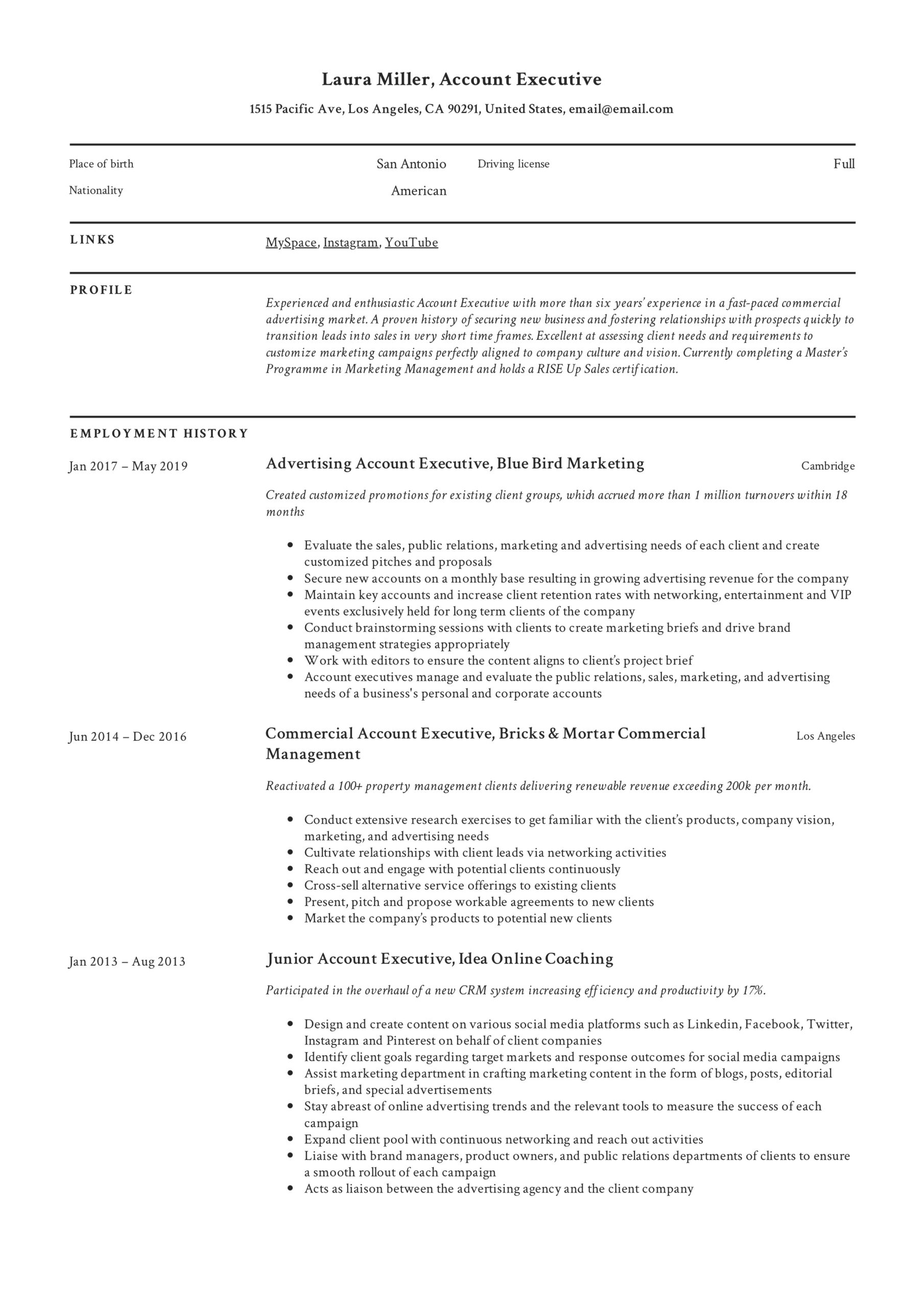 account executive resume writing guide templates pdf examples example of bcom fresher Resume Executive Resume Examples