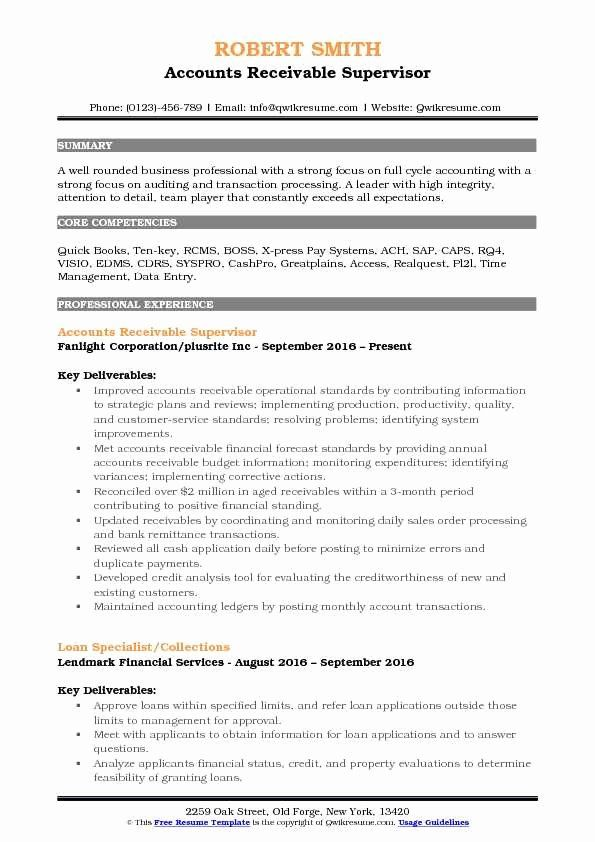 account receivable resume examples fresh accounts supervisor samples administrative Resume Credit And Collections Supervisor Resume