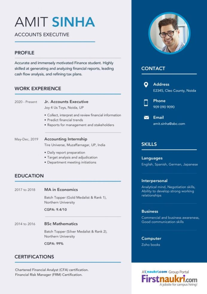 accounting resume sample career guidance latest format for freshers design 724x1024 Resume Latest Resume Format 2017 For Freshers