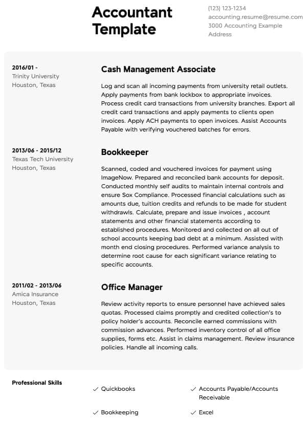 accounting resume samples all experience levels examples chartered accountant new grad Resume Accounting Resume Examples 2016