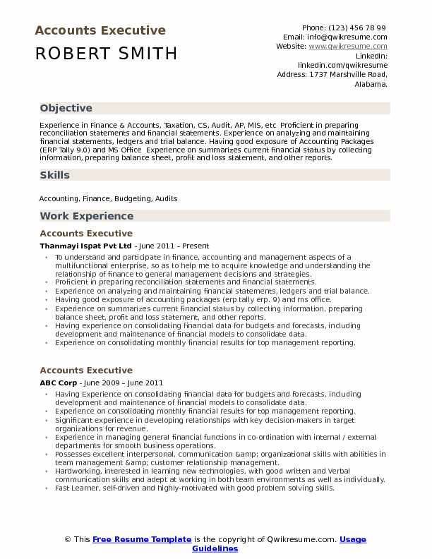 accounts executive resume samples qwikresume tally experience format pdf cover letter Resume Tally Experience Resume Format