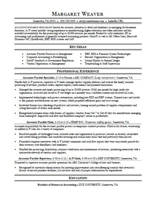 accounts payable resume sample monster skills engg electrical maintenance format for Resume Accounts Payable Resume Skills