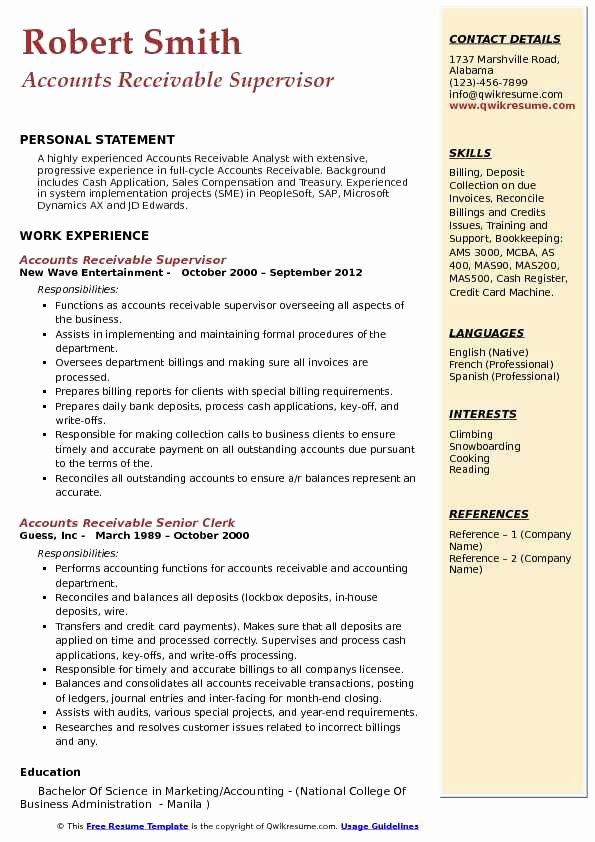 accounts receivable analyst resume beautiful supervisor samples customer service job Resume Credit And Collections Supervisor Resume