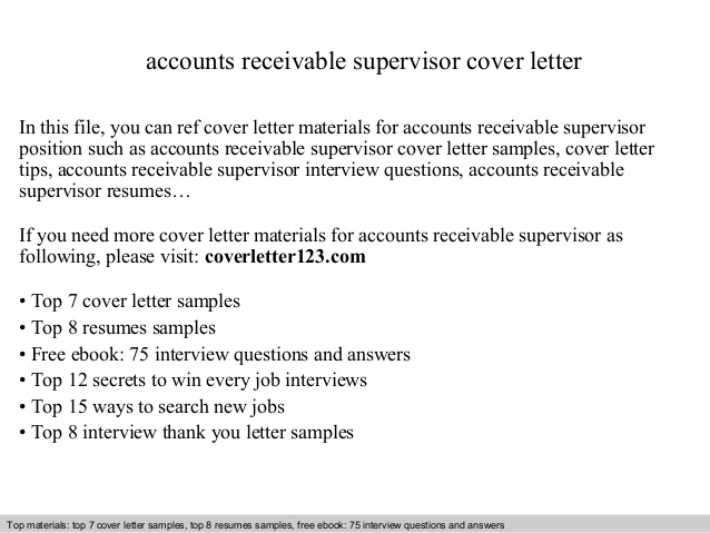 accounts receivable supervisor cover letter resume and service san skills for nanny Resume Accounts Receivable Supervisor Resume