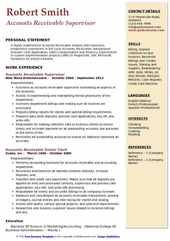 accounts receivable supervisor resume samples qwikresume pdf free google docs templates Resume Accounts Receivable Supervisor Resume