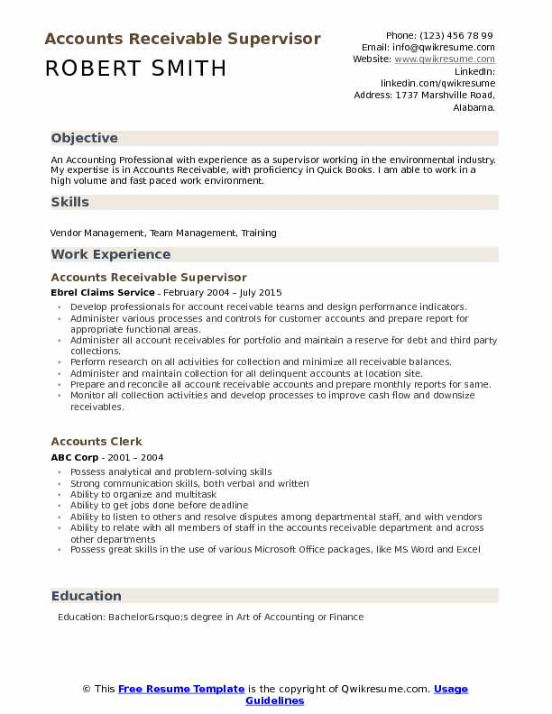 accounts receivable supervisor resume samples qwikresume pdf quality control objective Resume Accounts Receivable Supervisor Resume