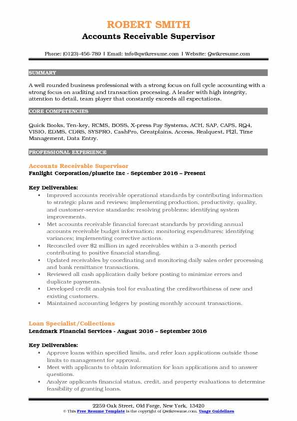 accounts receivable supervisor resume samples qwikresume pdf should put home address on Resume Accounts Receivable Supervisor Resume