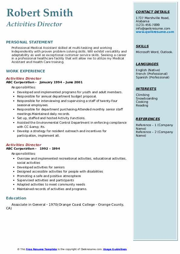 activities director resume samples qwikresume examples pdf sba fashion production Resume Resume Activities Examples