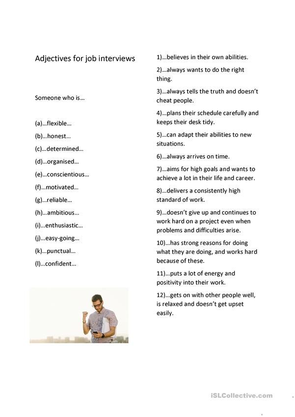 adjectives for job interviews positive personality traits english esl worksheets distance Resume Good Adjectives For Resume