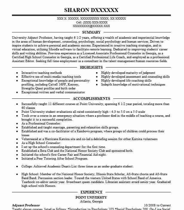 adjunct professor resume example resumes misc livecareer for position summary on indeed Resume Resume For Adjunct Professor Position