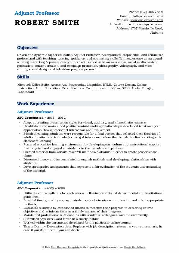 adjunct professor resume samples qwikresume for position pdf job objective example Resume Resume For Adjunct Professor Position