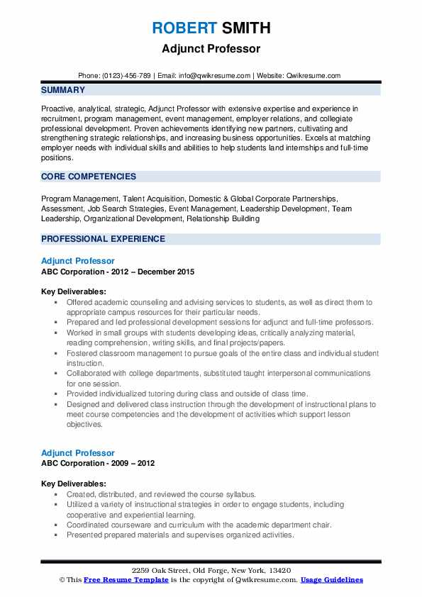 adjunct professor resume samples qwikresume for position pdf maintenance technician Resume Resume For Adjunct Professor Position