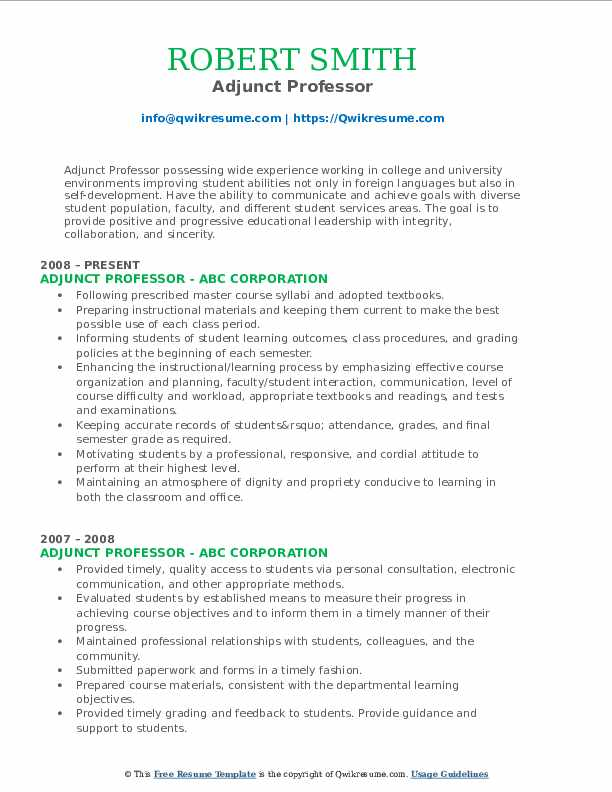 adjunct professor resume samples qwikresume for position pdf product manager role format Resume Resume For Adjunct Professor Position