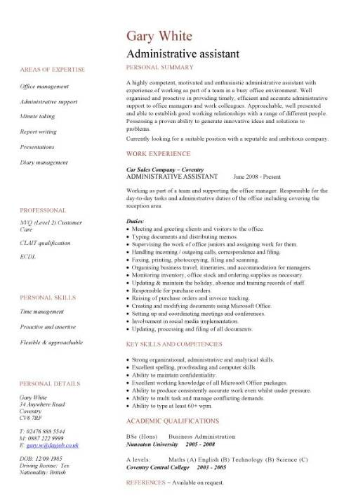 administrative assistant cv sample planning and organizing clerical office jobs resume Resume Admin Work Experience Resume