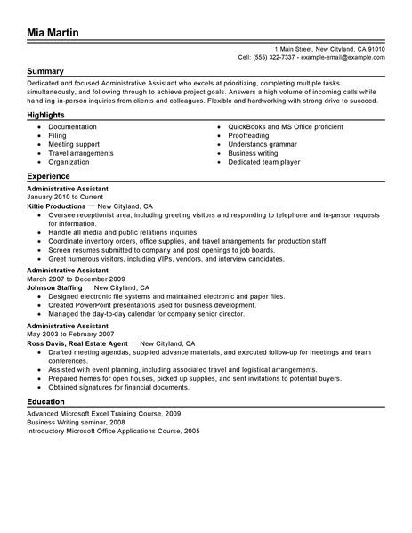 administrative assistant resume example free admin sample resumes livecare summary Resume Free Resume Examples For Administrative Assistant