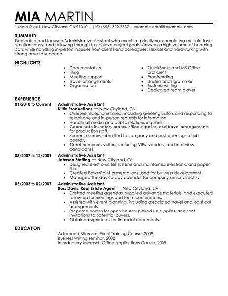 administrative assistant resume office summary examples example of entry level high Resume Example Resume Of Administrative Assistant