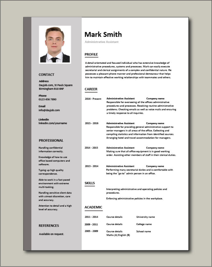 administrative assistant resume template example of free cv graphic designer job sample Resume Example Resume Of Administrative Assistant