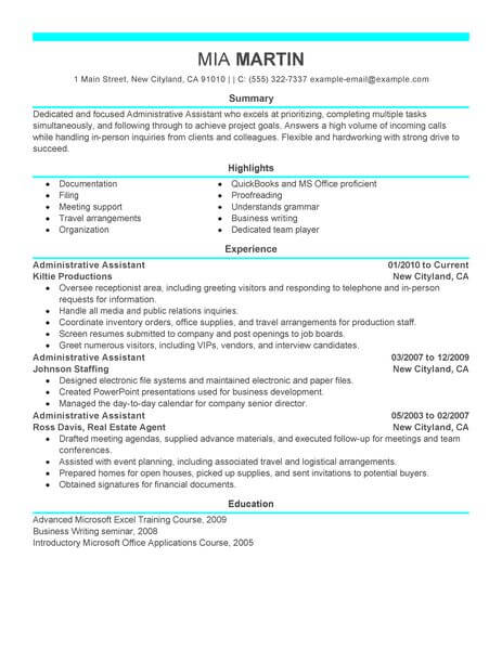 administrative assistant resume template for microsoft word livecareer administration Resume Administration Resume Format