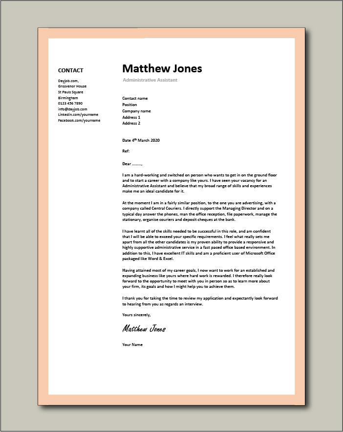 administrative assistant resume template free examples for cover letter example personal Resume Free Resume Examples For Administrative Assistant